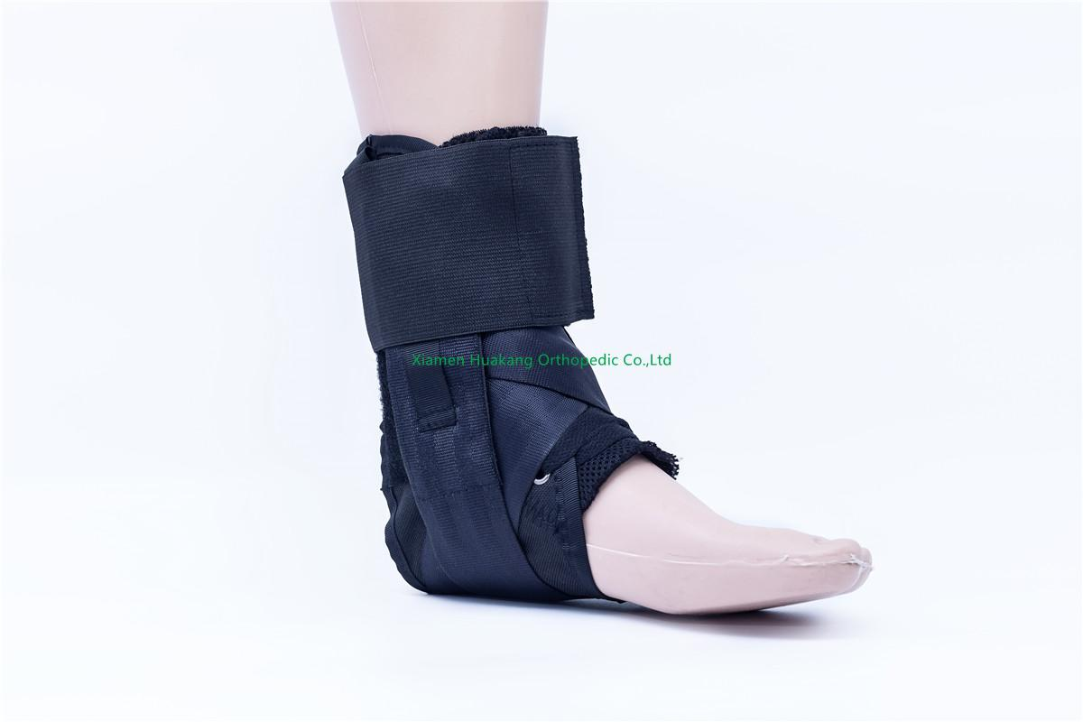 laced up orthopedic ankle brace